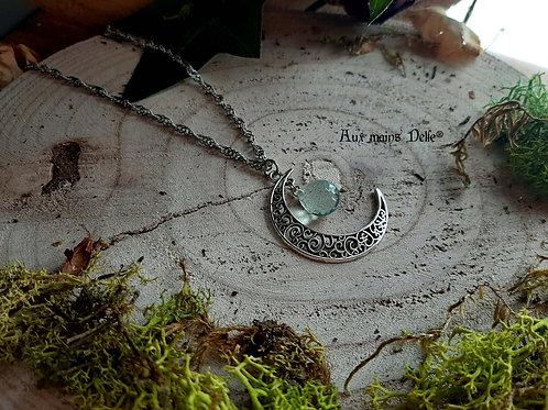 "Collier ""Lune Marine"" (Aigue-Marine)"