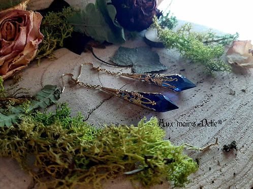 """Boucles """"Larmes d'Arwen"""" (Cristaux Swarovski®) (Dorées-Bleu nuit)"""