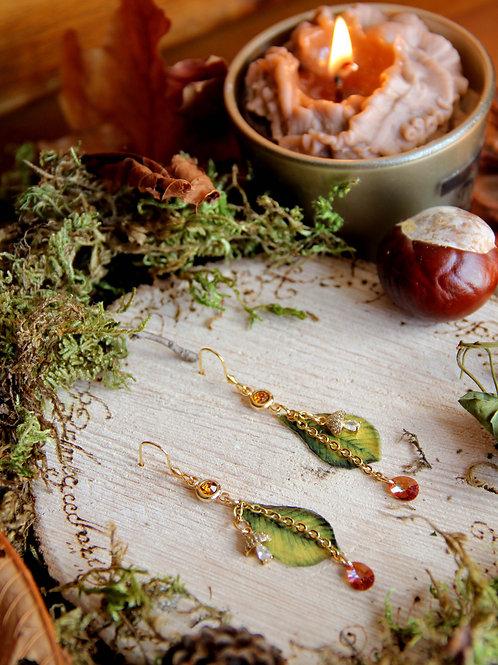 """Boucles """"Champignons du sous bois"""" (feuilles vertes)"""