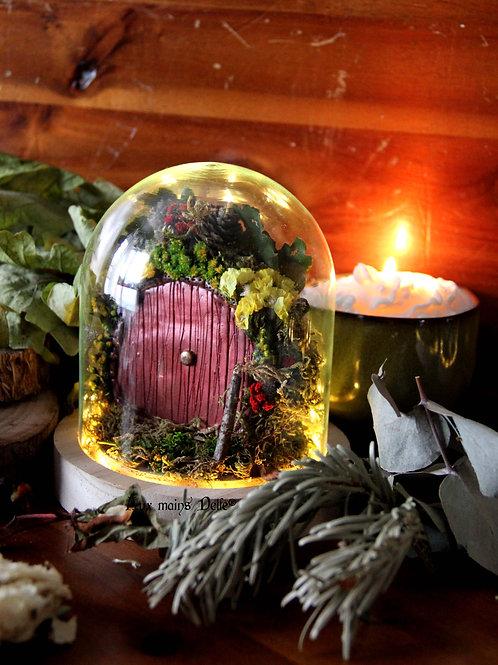"""Cloche miniature lumineuse """"Voyage en terre imaginaire"""" (cuivrée)"""