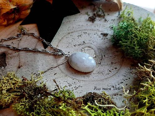 """Collier """"Pierre d'Isil"""" (Pierre de Lune arc en ciel) Argent 925"""