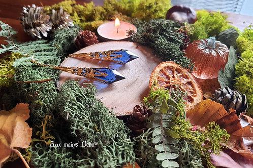 "Boucles ""Larmes d'Arwen"" (Swarovski®) (Doré Bleu nuit)"