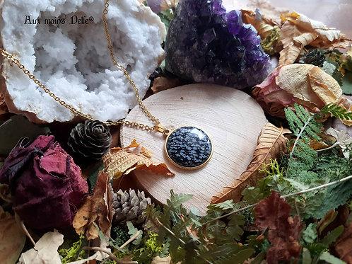 Médaillon d'Eowyn (Obsidienne mouchetée) (doré)