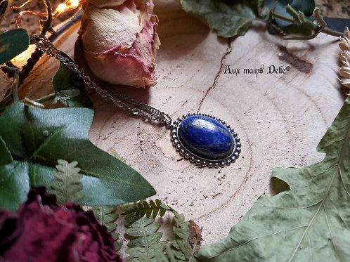 """""""Médaillon de Morwën"""" (Lapis-lazuli) Acier"""