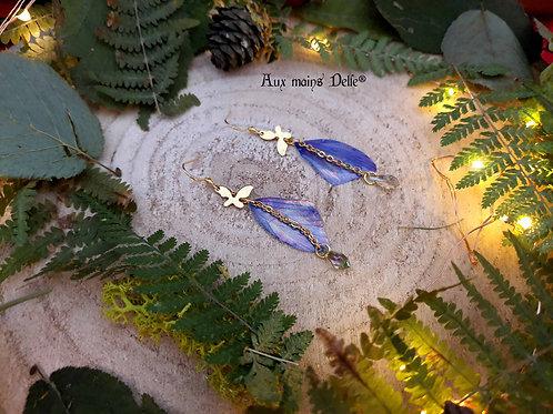"""Boucles """"Papillons elfiques"""" (Multiples reflets) (cristaux Swarovski®) (acier)"""