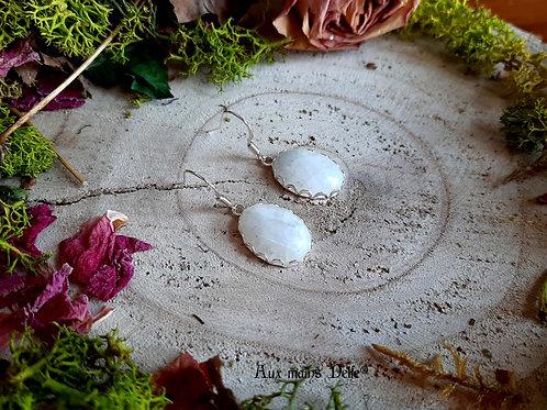 """Boucles """"Les grandes Dames"""" Argent 925-Pierre de Lune arc en ciel"""
