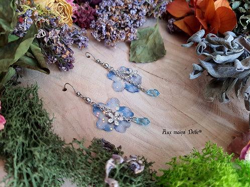 """Boucles """"Fleurs des grands elfes"""" (bleu)"""