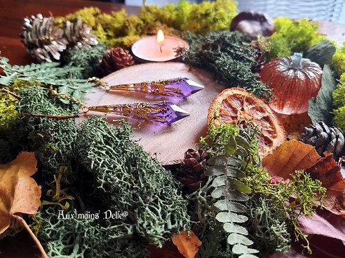 """Boucles """"Larmes d'Arwen"""" Swarovski® (violet doré)"""