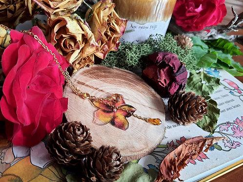 """Collier """"Fleur des grands elfes"""" (orange)"""