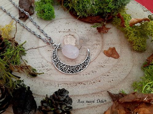 """Collier """"Lune d'Amour"""" (Quartz rose)"""