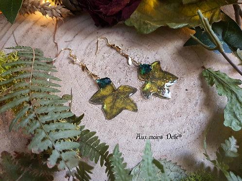 """Boucles """"Lierre Féerique"""" (cristaux Swarovski®) (Vert)"""