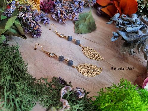 """Boucles """"Murmure des forêts"""" (Labradorite)"""