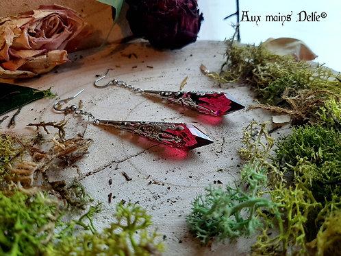 """Boucles """"Larmes d'Arwen"""" (Cristaux Swarovski®) (Argentées-rouges)"""
