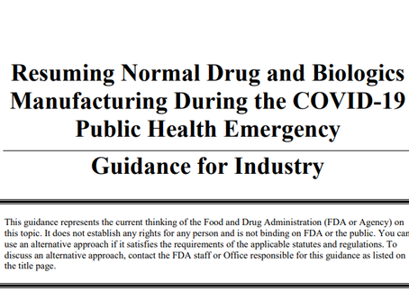 FDA Releases New Guidance on Manufacturing Operations