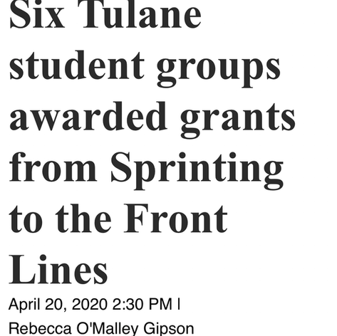 Six Tulane student groups awarded grants from Sprinting to the Front Lines