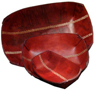 Stamped leather bowls