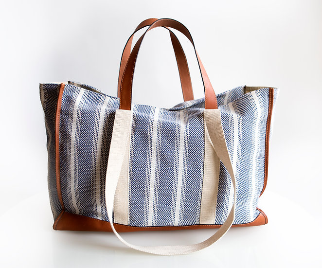 Cabin stripe canvas tote