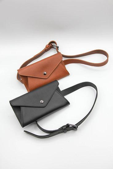 Leather envelope belt bag