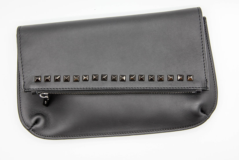 Leather studded clutch