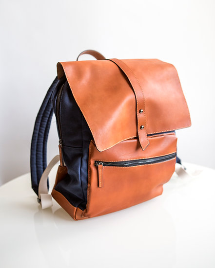 Navy leather & canvas backpack