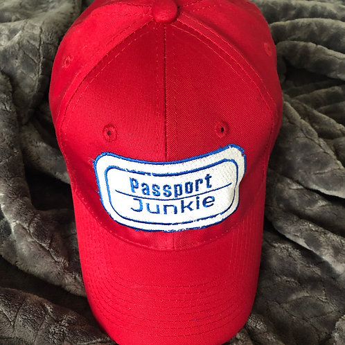 PASSPORT JUNKIE DAD HAT -RED