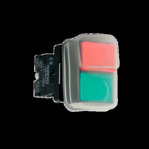 Pulsadores dobles (pulsador verde rasante y rojo saliente con cubierta)