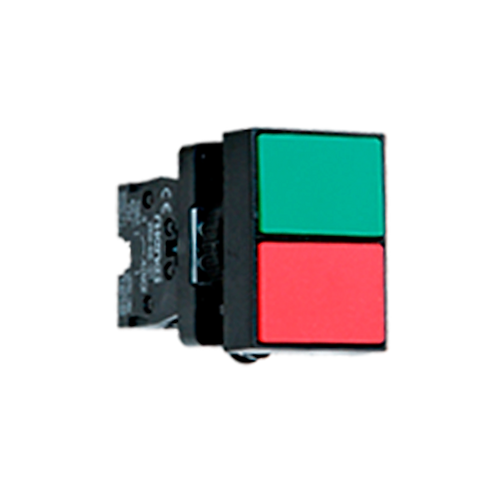 Pulsadores dobles (1 pulsador verde rasante 1 pulsador rojo rasante)