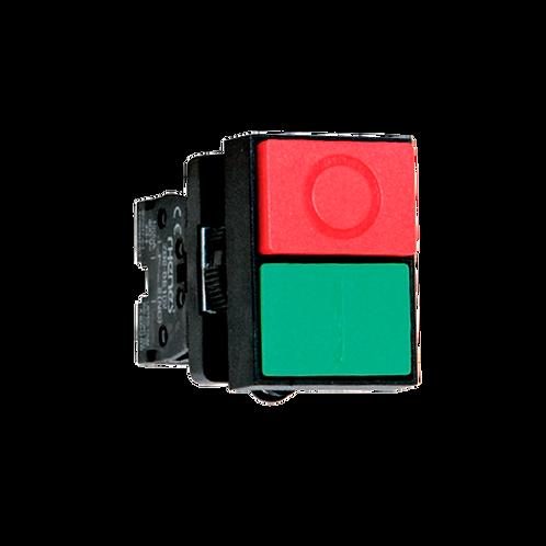 Pulsadores dobles (1 pulsador verde rasante 1 pulsador rojo saliente)