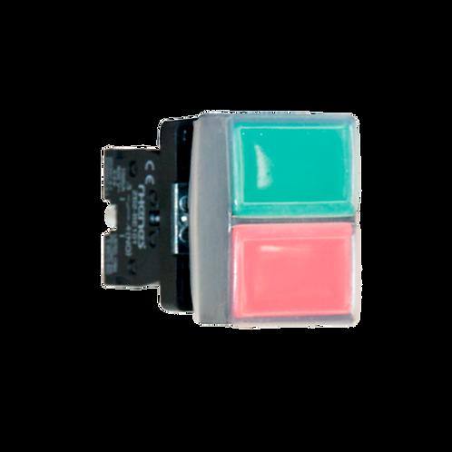 Pulsadores dobles (pulsador verde rasante y rojo rasante con cubierta)