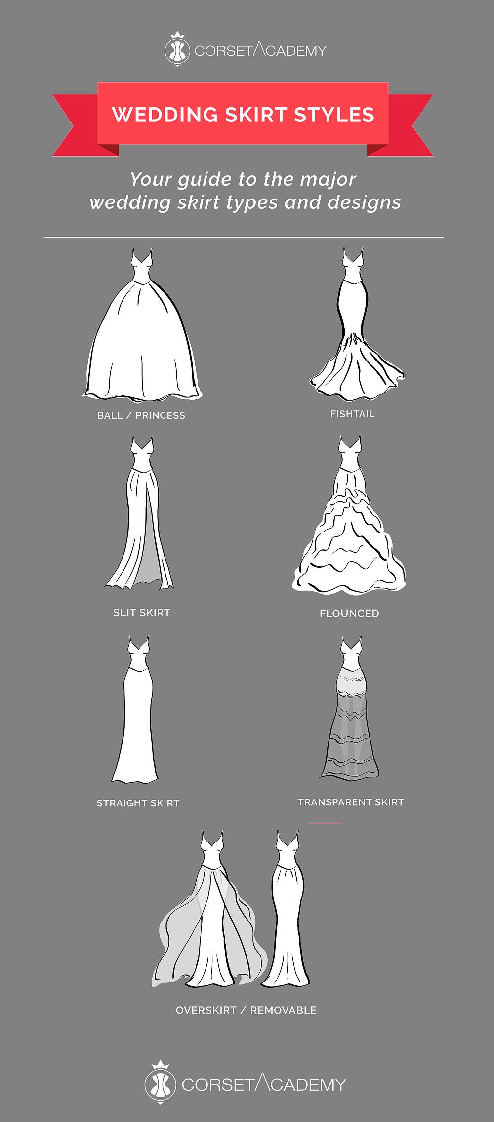 wedding skirt types styles