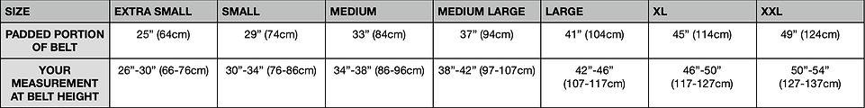 Badger Tool Belt Sizing Chart