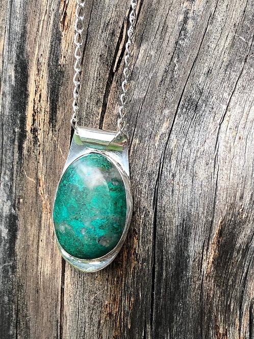 Chrysocholla pendant on long silver chain