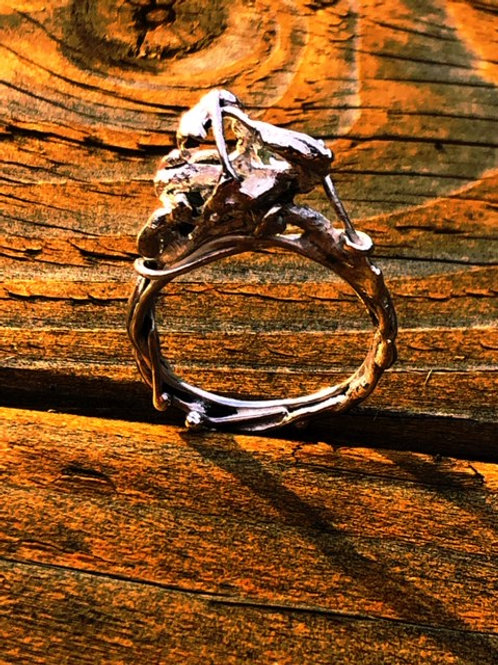 Sterling silver root ball ring