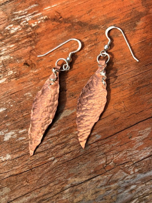 Hammered copper and sterling silver leaf earrings