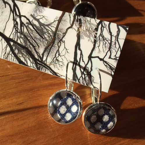 Short Earrings - Fabric and Glass