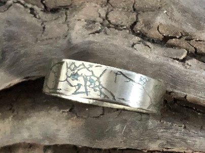 Leaf print ring with green patina