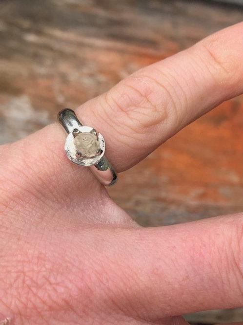 Natural topaz crystal silver ring