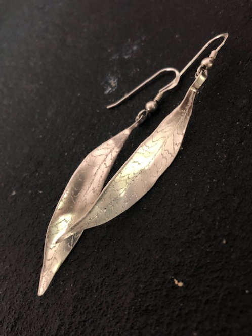 Engraved Sterling Silver Leaf Earrings