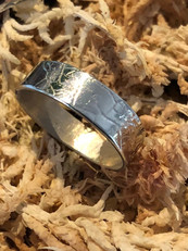 Silver leaf texture ring