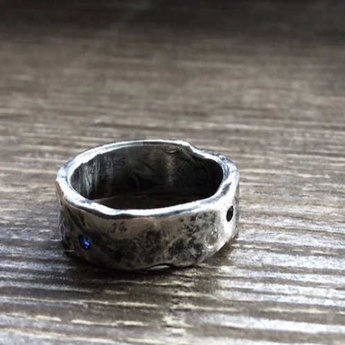 Unisex oxidised triple gemstone and nature print ring