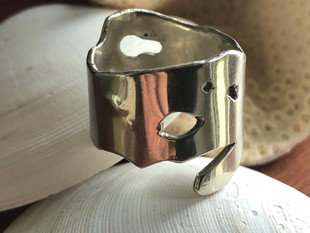 Sterling silver kelp inspired ring