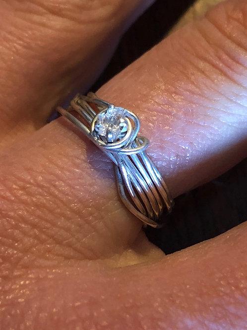 Tasmanian Topaz Crystal Silver Wire Ring