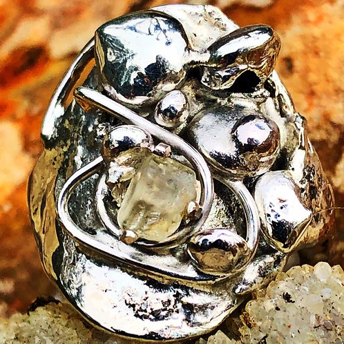 Silver and Topaz Crystal Conglomerate Ring