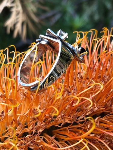 geometric ring with Tassie blackjack spinel and herkemer diamond
