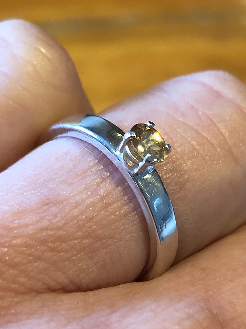 Faceted Tasmanian Champagne Zircon Ring