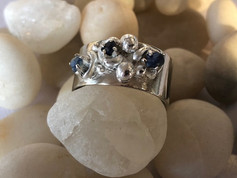 Natural river worn sapphire ring
