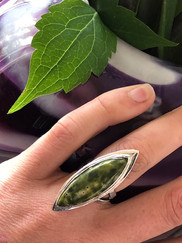 Stichtite in serpentine statement ring