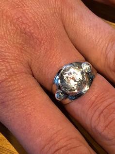 faceted Flinders Island quartz ring