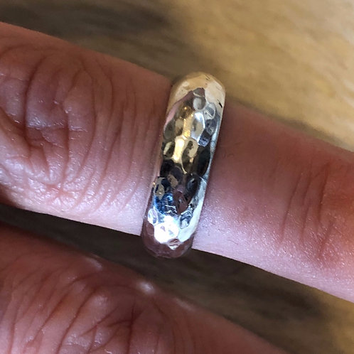Hammered Half-Round Sterling Silver Band