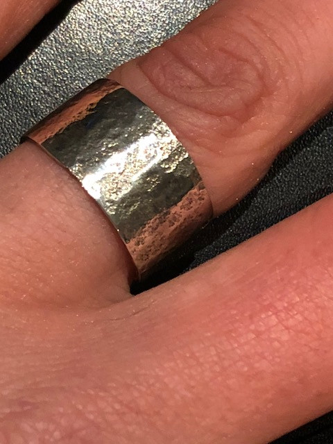 Sterling silver lichen print ring